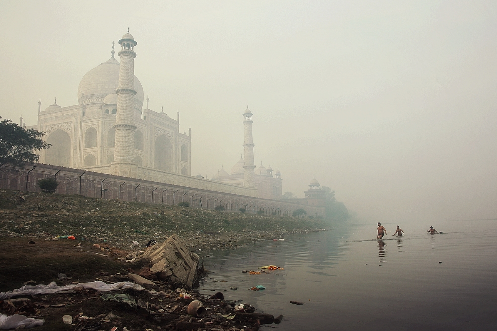 taj mahal and yamuna river, agra, india. two thousand and nine