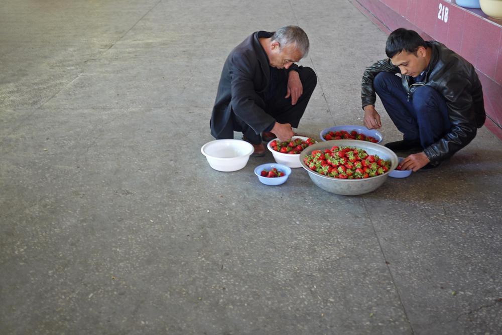strawberry selecting at a small tashkent farmer market